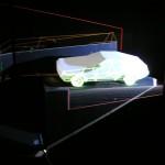 「Beam Painting」は立体物への映像投影を可能した、タケナカオリジナルソリューション。写真は車の模型に映像を写し出している様子