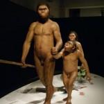 人気お笑いタレント、岡村隆史氏の協力によって完成した猿人親子の再現模型