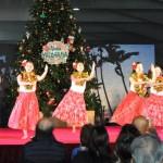 ツリーをバックに披露されたフラダンスのステージで、ハワイのクリスマス気分を満喫