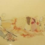 腑分け(解剖)における一連の流れを図解した絵図。肺にストローで空気を吹き込んでいる