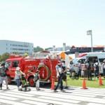 三笠公園では、青空のもと働く車が大集合。子どもたちの好奇心をかきたてた