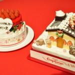 高橋愛さんデザインの「パーティーデコレーション」(左)と、横川晃太郎くんデザインの「夢のクリスマスケーキ」(右)