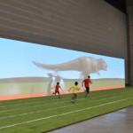 恐竜や宇宙人とタイムを競う「バーチャル25m走」は、子どもたちに大人気