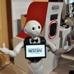 ネスレ日本では、Pepperが呼び込みをしてコーヒーマシーンの紹介を行い話題に