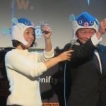 下関市の坂本康一副市長も登壇。「ぜひ、みなさん、ふぐと下関を愛してください」と乾杯