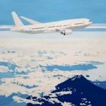 飛行機と富士山。雲の緻密な表現が美しい